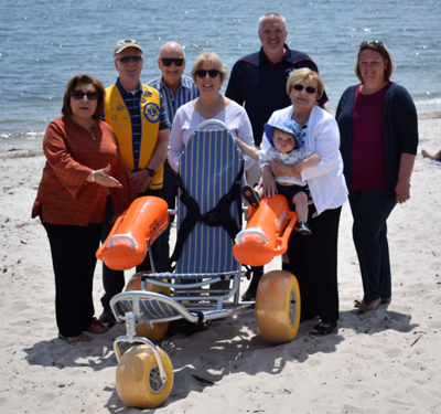 l to r - Rotary President Eva Menon, Lions Club Past President Jim Loos, Rotarian Ken Payne, Lions Club Secretary Edie Watrous, Park & Rec Director Dave Putnam, Rotarian Donna Gada, Cerebral Palsy Executive Director Jennifer Keatley<